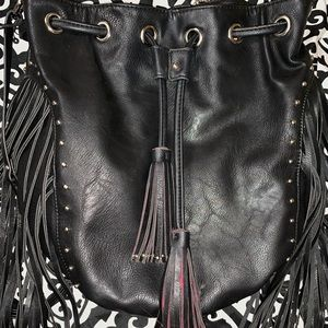 Urban originals Black leather fringe backpack
